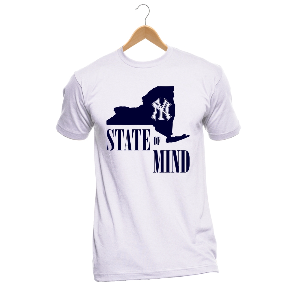 751aedc5e NY State of Mind NY Yankees Custom T Shirt White Navy T4H Exclusive