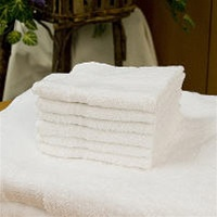 100% Cotton Washcloths - White, These smooth-as-silk terry towels and washcloths are manufactured from 100% cotton for superior durability and minimal shrinkage. Sixteen single yarns in the pile make these terries much softer than the standard ten s