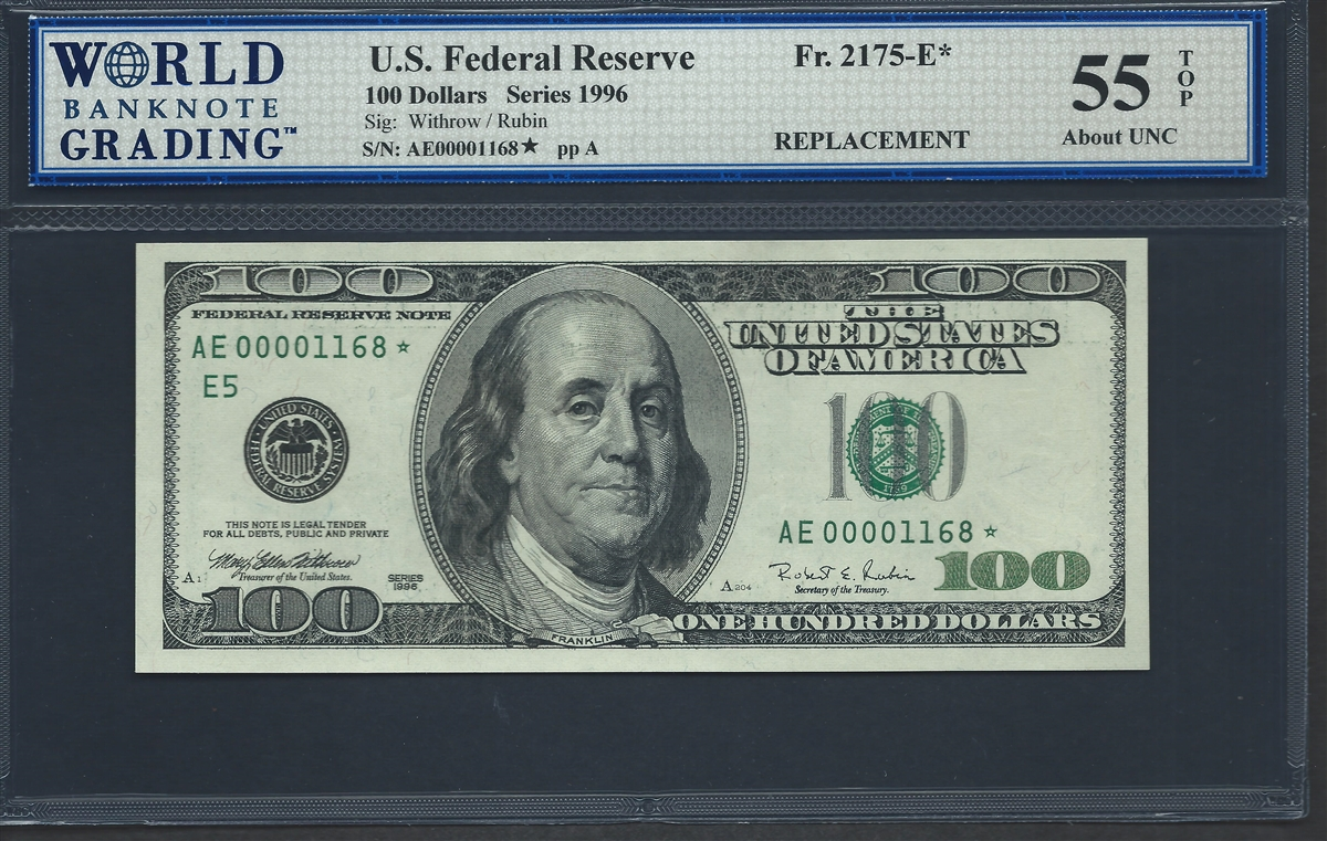 U S Federal Reserve Fr 2175 E Replacement Note Low Serial