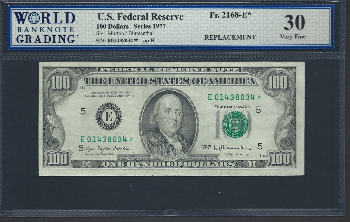 U S Federal Reserve Fr 2168 E 100 Dollars Series 1977