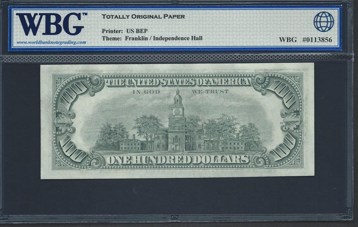 U S  Federal Reserve, Fr  2168-G, 100 Dollars, Series 1977 Signatures:  Morton/Blumenthal 66 TOP UNC Gem