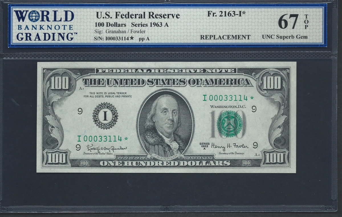 U.S. Federal Reserve, Fr. 2163-I*, Replacement Note, 100 Dollars