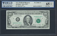 U.S. Federal Reserve, Fr. 2166-A*, Replacement Note, 100 Dollars, Series 1969 C Signatures: Banuelos/Shultz 65 TOP UNC Gem