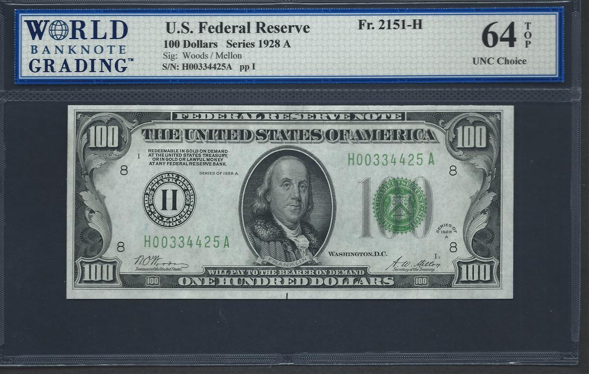 U.S. Federal Reserve, Fr. 2151-H, 100 Dollars, Series 1928 A Signatures:  Woods/Mellon 64 TOP ...
