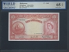 Bahamas, P-14d, 10 Shillings, 1936 (1953) Signatures: Higgs/Sweeting/Roberts 65 TOP UNC Gem