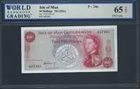 Isle of Man, P-24a, 10 Shillings, ND (1961) Signatures: R.H. Garvey 65 TOP UNC Gem