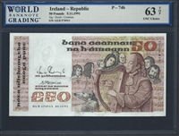 Ireland - Republic, P-74b, 50 Pounds, 5.11.1991, 63 TOP UNC Choice
