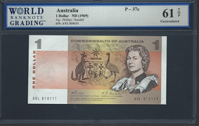 Australia, P-37c, 1 Dollar, ND (1969), 61 TOP Uncirculated