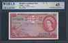 British Caribbean Territory, P-07c, 1 Dollar, 2.1.1958 Signatures: Lartigue/Waterman/Burrowes 45 Extremely Fine Choice