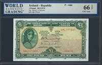 Ireland - Republic, P-64d, 1 Pound, 30.9.1976, 66 TOP UNC Gem
