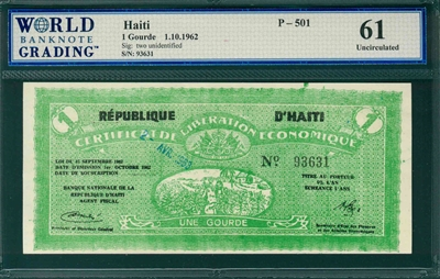 Haiti, P-501, 1 Gourde, 1.10.1962, Signatures: two unidentified,  61 Uncirculated, COMMENT:  staple holes