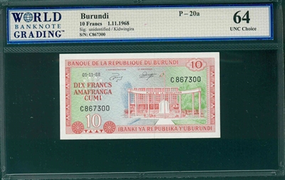 Burundi, P-20a, 10 Francs, 1.11.1968, Signatures: unidentified/Kidwingira,  64 UNC Choice