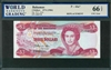 Bahamas, P-44a*, 3 Dollars, 1974 (1984), Signatures: W.C. Allen, 66 TOP UNC Gem, REPLACEMENT