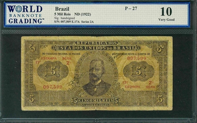 Brazil, P-027, 5 Mil Reis, ND (1922), Signatures: handsigned, 10 Very Good