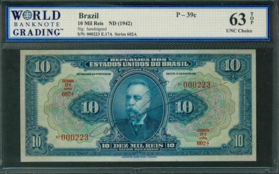 Brazil, P-039c, 10 Mil Reis, ND (1942), Signatures: handsigned, 63 TOP UNC Choice