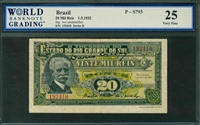 Brazil, P-S793, 20 Mil Reis, 1.5.1932, Signatures: two unidentified, 25 Very Fine