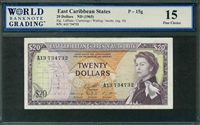 East Caribbean States, P-15g, 20 Dollars, ND (1965), Signatures: LeBlanc/Cummings/Walling/Jacobs (sig. 10), 15 Fine Choice, COMMENT: staple holes