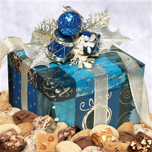 Shimmering Silver Merry Christmas Cookie & Brownie Gift Box