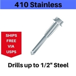 "410 SS Hex Self Drill Screw 12-24 x 1-1/4"" #5 Point Box of 100"