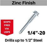 "Hex Self Drill Screw 1/4-20 x 2"" #5 Point 50 Pieces"