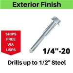 "Hex Self Drill Screw 1/4-20 x 8"" #5 Point Exterior Coated 25 Pieces"