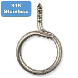 "1-1/4"" Stainless Steel Bridle Ring Wood Thread Box of 20"