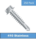 "410 Stainless Hex Head Self Driller Screw 10 x 3/4"" 250 Pack"