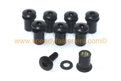 8x M5 5mm Rubber Well Nuts & Black Anodised Aluminium Bolts for Screen / Fairing
