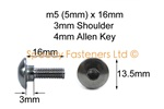 Stainless Steel Motorcycle Fairing Bolts m5 x 16mm with 3mm Shoulder. Yamaha, Suzuki, Honda