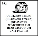 W-E 0384 WINDSHIELD AND REAR WINDOW GM