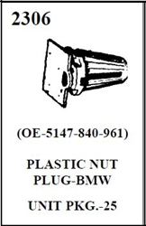W-E 2306 PLASTIC NUT PLUG/BMW 25/BOX