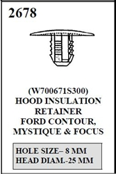 W-E 2678 HOOD INSULATION RETAINER, 25MM HEAD DIAM. FOR 8MM HOLE