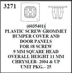 W-E 3271 Plastic Screw Grommet, Bumper Cover and Door Panels Chrysler