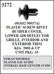 W-E 3272Plastic Screw Rivet, Bumper Cover Lower Air Deflector Grille, Interior and Exterior Trim, Kia