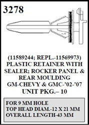 W-E 3278 Plastic Retainer With Sealer, Rocker Panel & Rear Moulding, GM, GMC, Chevrolet