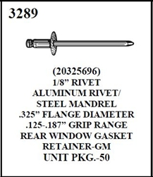 "W-E 3289 Aluminium 1/8"" Rivet/Steel Mandrel, GM"
