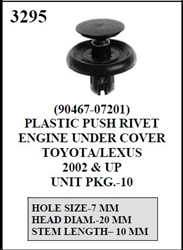 W-E 3295 Plastic Push Rivet EnginToyota/Lexuse Under Cover