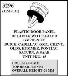 W-E 3296 Plastic Door Panel Retainer With Sealer, GM, Buick, Cadillac