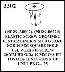 W-E 3302 Plastic Screw Grommet Fender Liner & Mud Guard, Toyota/Lexus