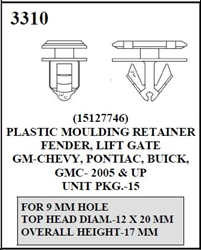 W-E 3310 Plastic Moulding Retainer, Fender, Lift Gate, GM, Chevrolet, Pontiac, Buick, & GMC