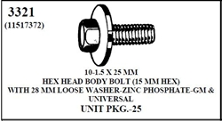 W-E 3321 Hex Head Body Bolt With 28mm Loose Washer (15mm Hex), Pilot Point, Zinc & Phosphate, GM & Universal, 25/Box