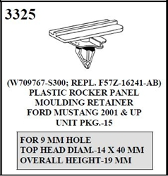 W-E 3325 Plastic Rocker Panel Moulding Retainer, Ford Mustang