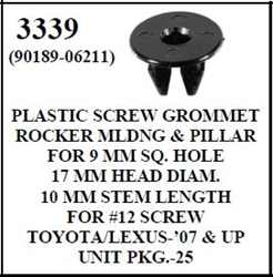 W-E 3339 Plastic Screw Grommet Rocker Moulding & Pillar, Toyota & Lexus
