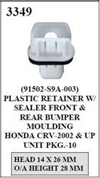 W-E 3349 Plastic Retainer With Sealer, Front & Rear Bumper, Moulding, Honda CR-V