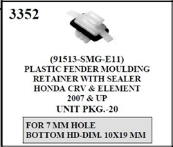 W-E 3352 Plastic Fender Moulding Retainer With Sealer, Honda CR-V & Element