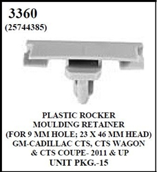 W-E 3360 Plastic Rocker Moulding Retainer, For 9mm Holes, 23 by 46mm Head, Cadillac CTS, CTS Wagon, & CTS Coupe