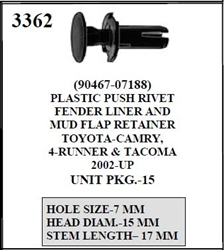 W-E 3362 Plastic Push Rivet, Fender Liner And Mud Flap Retainer, Toyota Camry, 4Runner, & Tacoma