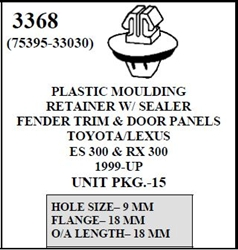 W-E 3368 Plastic Moulding Retainer With Sealer, Fender Trim & Door Panels, Lexus ES300 & RX300