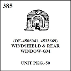 W-E 0385 WINDSHIELD AND REAR WINDOW, GM