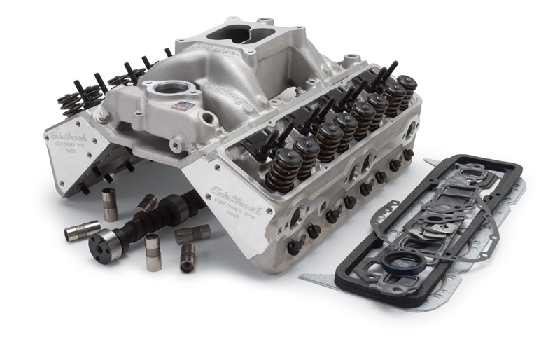 EDELBROCK RPM FOR 327-350 S/B CHEVY (1986 & EARLIER) POWER PACKAGE TOP END  KIT- 410 HP & 408 FT/LBS- SATIN FINISH - 2098